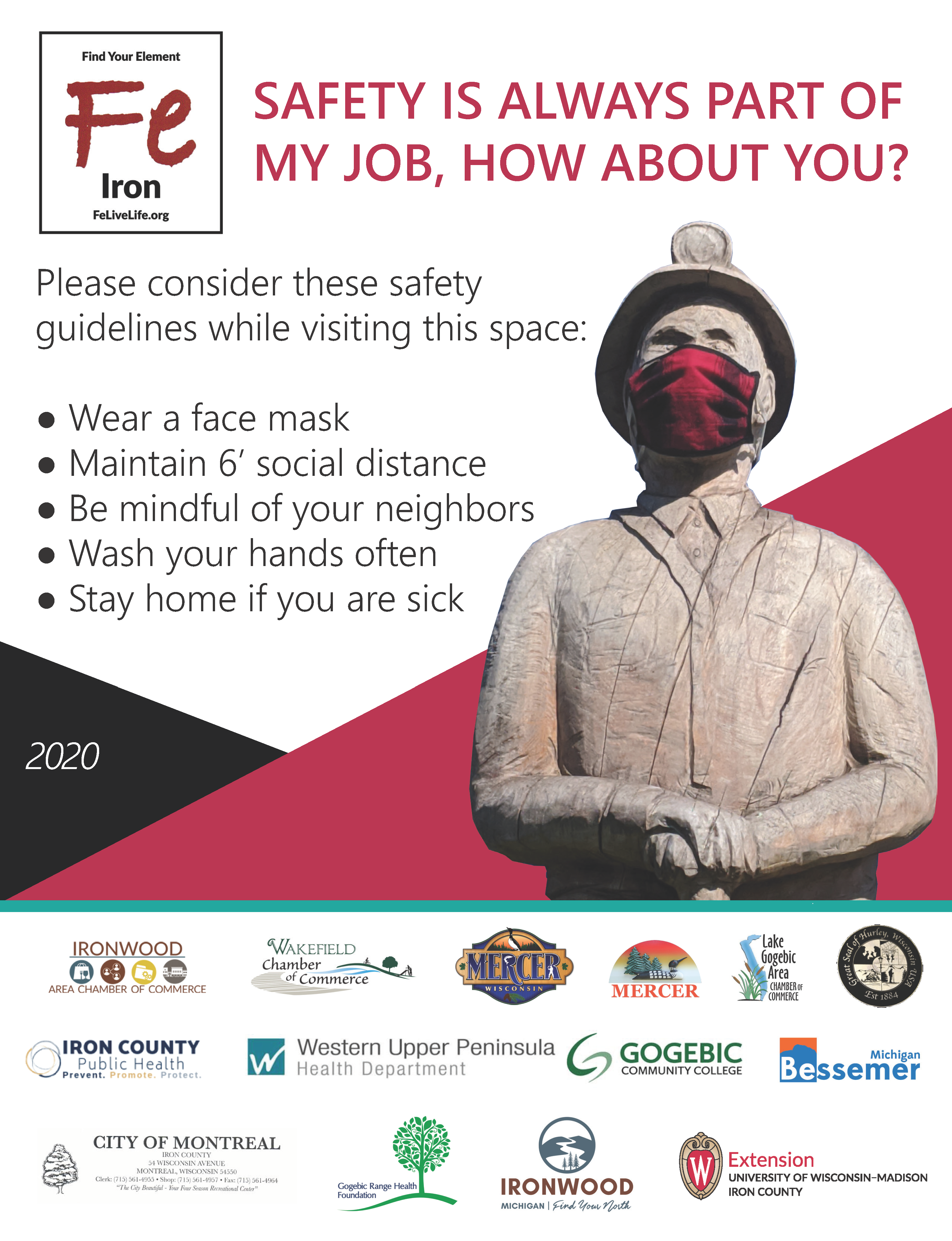 FeLiveLife Partners and Friends teaming up to feature local art as a reminder to Gogebic Range residents and visitors about COVID-19 guidelines